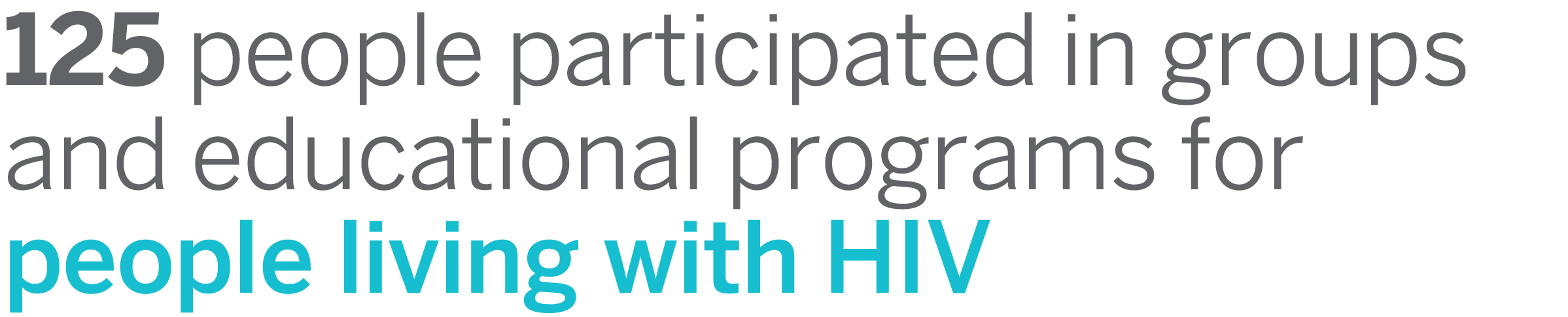 125 people participated in groups and educational programs with people living with HIV
