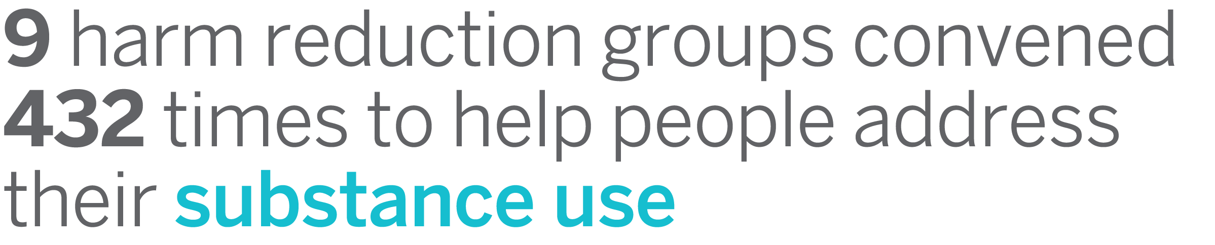 9 harm reduction groups convened 432 times to help people address their substance use