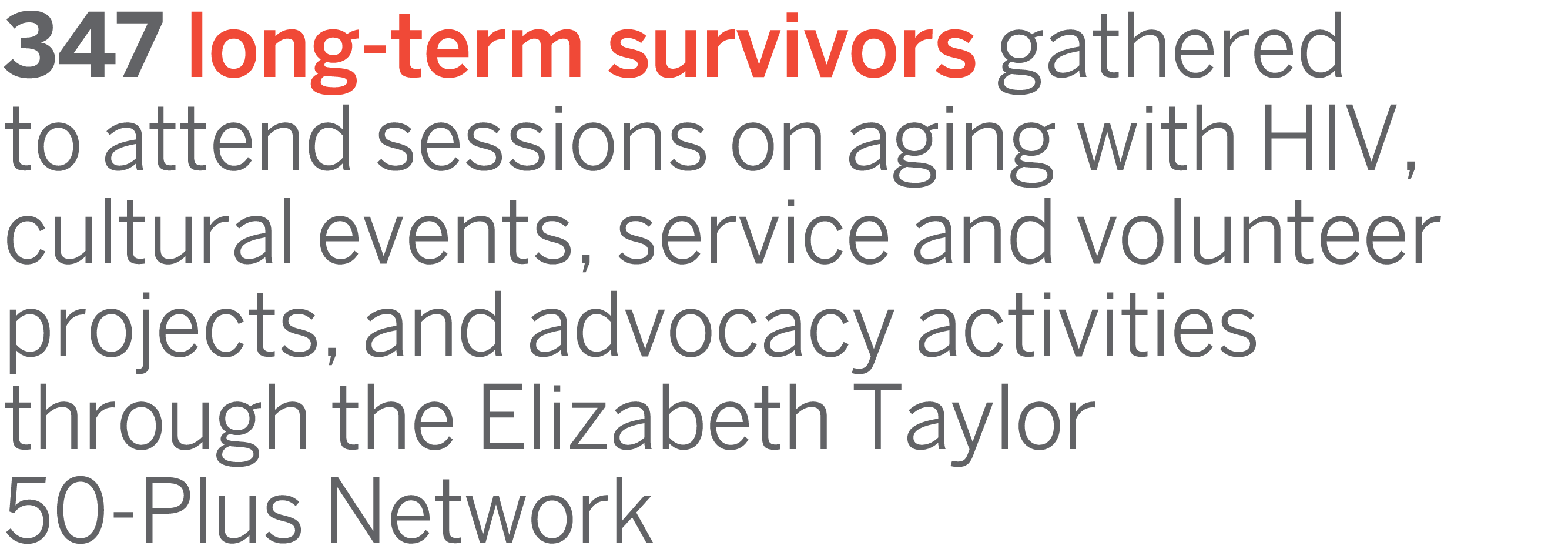 347 long-term survivors gathered to attend sessions on aging with HIV, cultural events, service and volunteer projects, and advocacy activities through the Elizabeth Taylor 50-Plus Network