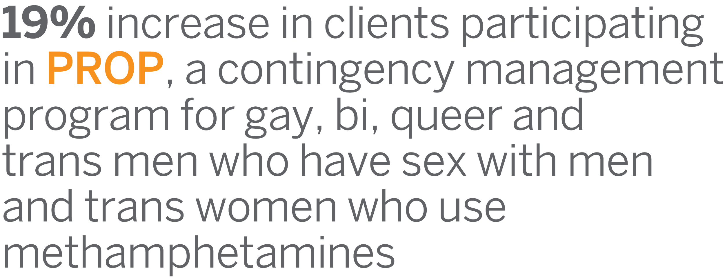 19% increase in clients participating in PROP, a contingency management program for gay, bi, queer and trans men who have sex with men and trans women who use methamphetamines