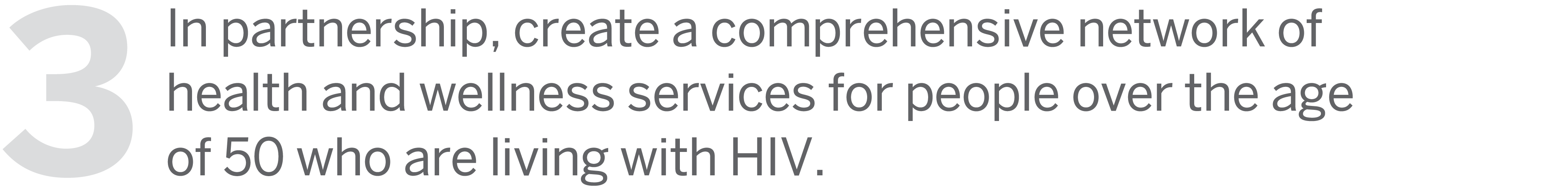 3: In partnership, create a comprehensive network of health and wellness services for people over the age of 50 who are living with HIV