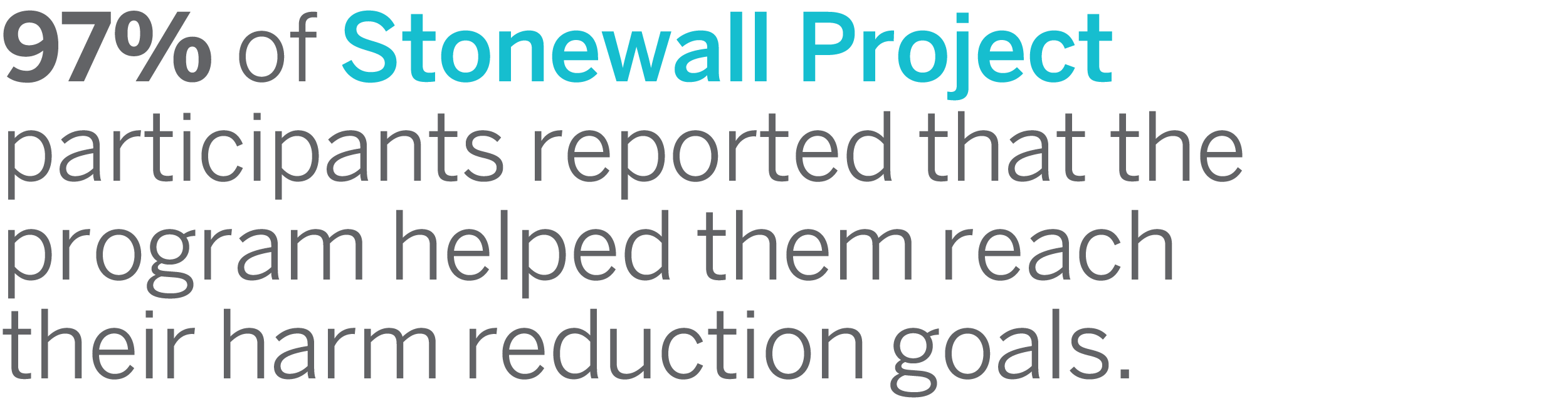 97 percent of the Stonewall Project participants reported that the program helped them reach their harm reduction goals